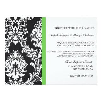 Invitación verde del boda del vintage