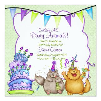 Invitación verde del cumpleaños de los juerguistas
