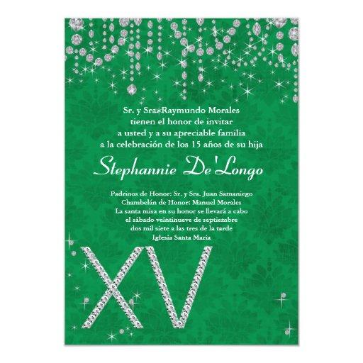 invitación verde del cumpleaños de Quinceanera del