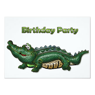 Invitación verde del cumpleaños del cocodrilo de