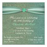 Invitación verde del cumpleaños del damasco