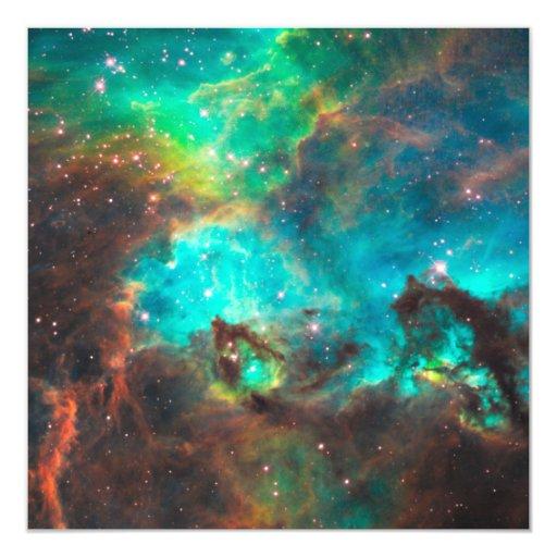 Invitación verde del cúmulo de estrellas de la