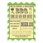 Invitación verde del estreno de una casa de la bar