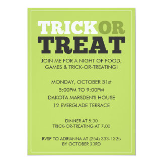Invitación verde del fiesta de Halloween del truco