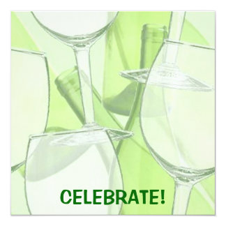 Invitación verde del fiesta de la copa de vino