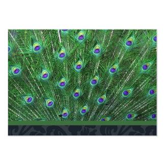 Invitación verde del fiesta de la pluma del pavo