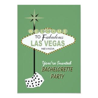 Invitación verde del fiesta de Las Vegas