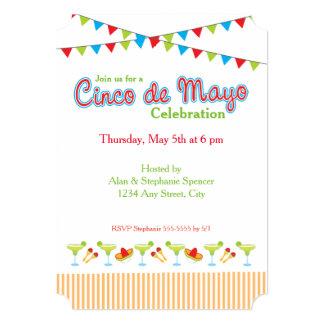Invitación verde del fiesta de Margarita Cinco De