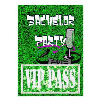Invitación verde del fiesta del vip del soltero
