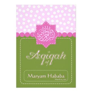 Invitación verde del lunar del bebé de Aqiqah del