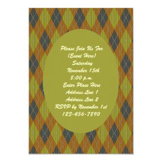 Invitación verde del modelo de Brown Argyle