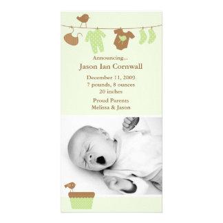 Invitación verde del nacimiento del lavadero del tarjetas fotograficas