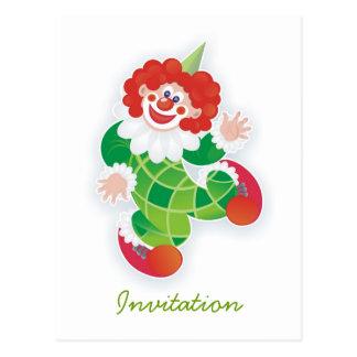 invitación verde divertida del fiesta del payaso tarjetas postales