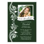 Invitación verde elegante de la fiesta de graduaci