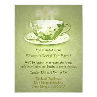 Invitación verde encantadora de la fiesta del té invitación 10,8 x 13,9 cm