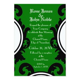 Invitación (verde) negra barroca del boda
