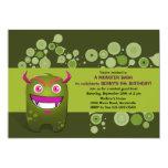 Invitación verde oliva de la fiesta de cumpleaños