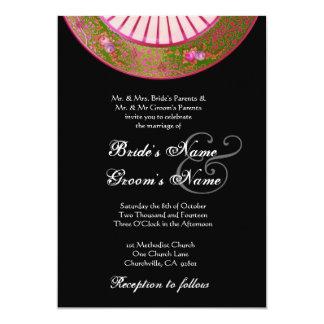 Invitación VERDE OLIVA y ROSADA del boda de China