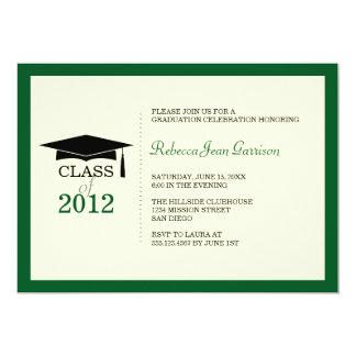 Invitación verde oscuro de la graduación de la