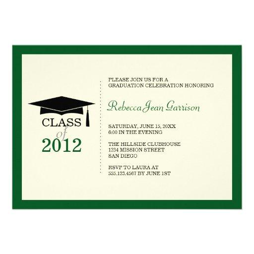 Invitación verde oscuro de la graduación de la bor