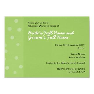 Invitación verde pintada de la cena del ensayo de invitación 11,4 x 15,8 cm