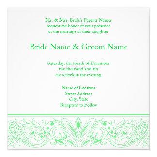 Invitación verde prístina del boda