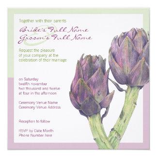 Invitación verde púrpura del boda de las