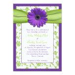 Invitación verde púrpura del boda del damasco de