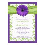 Invitación verde púrpura del boda del damasco de l