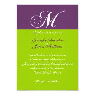 Invitación verde púrpura elegante del boda del invitación 12,7 x 17,8 cm