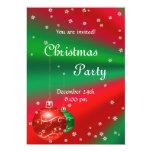 Invitación verde roja de la fiesta de Navidad Invitación 12,7 X 17,8 Cm