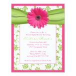 Invitación verde rosada de la fiesta de bienvenida invitación 10,8 x 13,9 cm