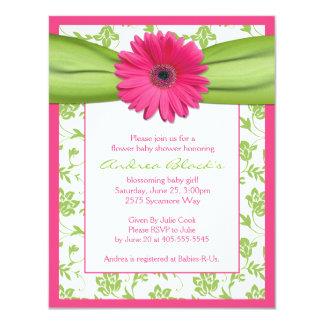 Invitación verde rosada de la fiesta de bienvenida