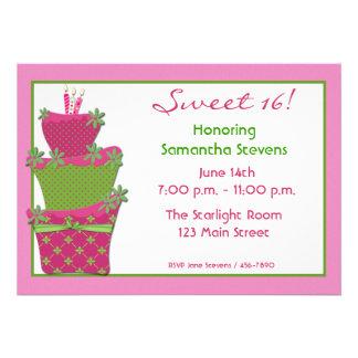 Invitación verde rosada de la torta