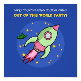 Invitación verde rosada del cumpleaños de Rocket