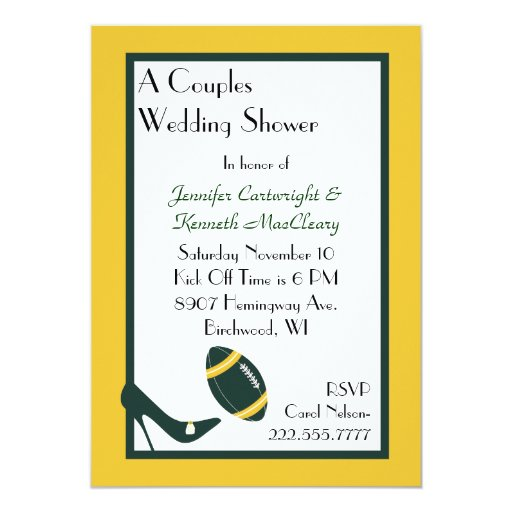 Invitación verde y amarilla de la ducha del boda