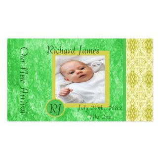 Invitación verde y amarilla del nacimiento del beb tarjetas de visita