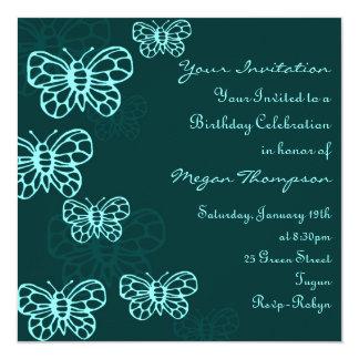Invitación verde y azul del cumpleaños de la