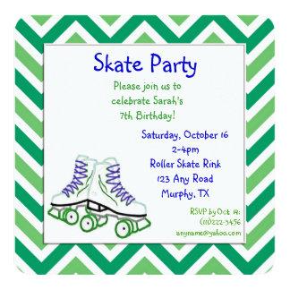 Invitación verde y azul del cumpleaños del patín