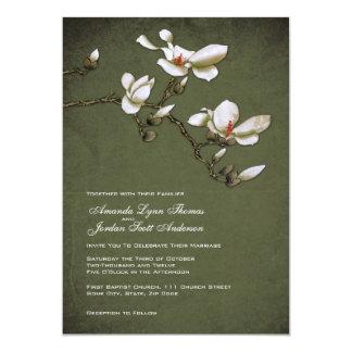 Invitación verde y blanca del boda de la magnolia