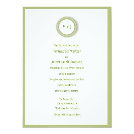 Invitación verde y blanca suave encantadora del
