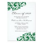 Invitación verde y negra de la graduación del