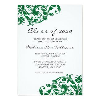 Invitación verde y negra de la graduación del invitación 12,7 x 17,8 cm