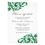 Invitación verde y negra de la graduación del remo