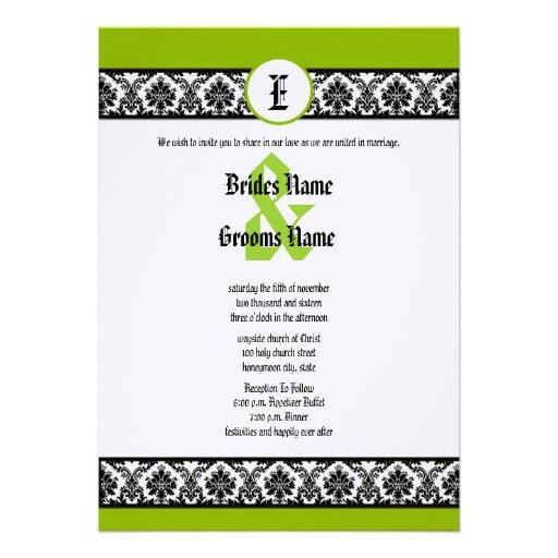 Invitación verde y negra del boda del damasco