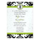 Invitación verde y negra del boda del damasco de l