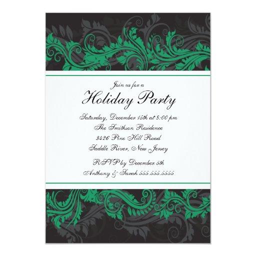 Invitación verde y negra elegante de la fiesta de