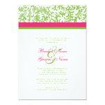 Invitación verde y rosada del boda invitación 12,7 x 17,8 cm