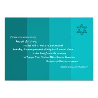 Invitación verdemar tonal de Mitzvah de la barra Invitación 12,7 X 17,8 Cm