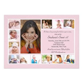 Invitación vertical de la foto del collage de 13 f